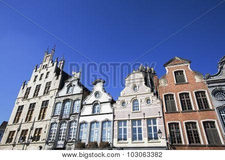 Facade Of 18Th Century Buildings In Mechelen, Belgium.