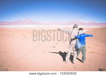 Couple Traveling On The Bolivian Andes, Toned Image