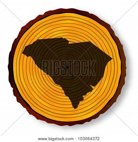 South Carolina Map On Timber