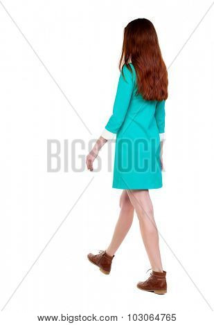 back view of walking  woman. beautiful girl in motion.  backside view of person.  Rear view people collection. Isolated over white background. girl in a stylish vintage dress goes diagonally to right.