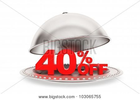 Restaurant Cloche With 40 Percent Off Sign