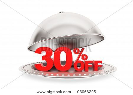 Restaurant Cloche With 30 Percent Off Sign