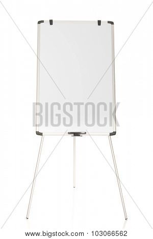 Empty flip chart standing on the floor.