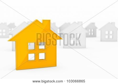 3D Orange Abstract House