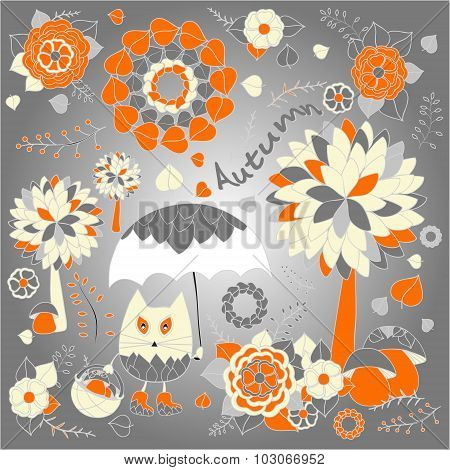 Stock Vector Autumn Background With Cartoon Cat, Umbrella, Tree And Flower