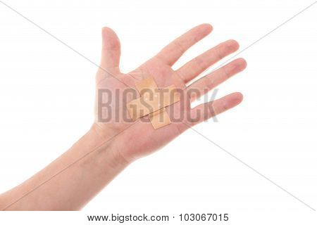 Man´s Hand Glued Medical Plaster On The Elbow, Isolated On White, Concept First Aid