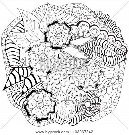 Stock Vector Floral Black And White Doodle Pattern