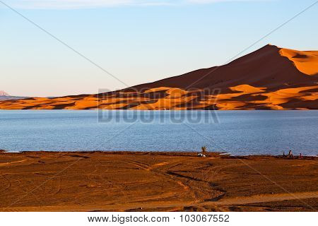 In The Lake Yellow  Desert Of Morocco Sand And     Dune