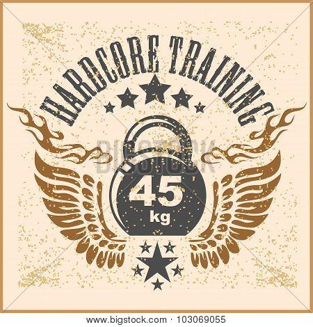 Vintage weight sign on grunge background - vector emblem.