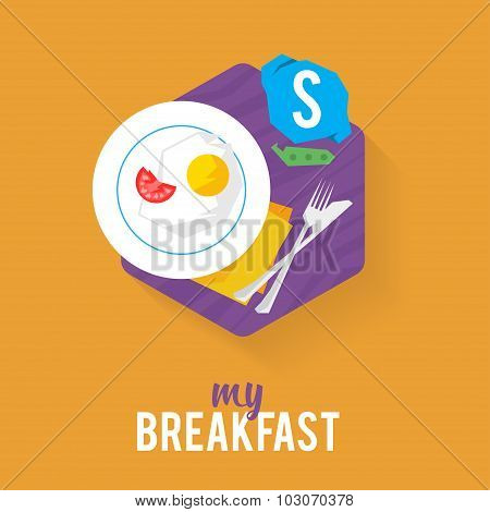 Icon breakfast for a creative person, fried eggs with tomatoes and messenger.