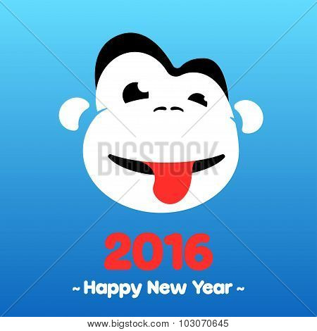 Symbol of the New Year is a monkey, monkey shows tongue on a blue background.