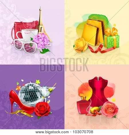 Beauty and cosmetics set of concepts, vector backgrounds