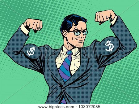 Businessman with muscles currency dollar