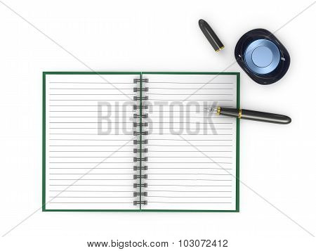 Notepad With Fountain Pen And Ink Jar On A White Background.
