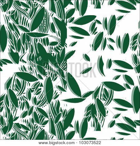 Illustration of green foliage seamless pattern