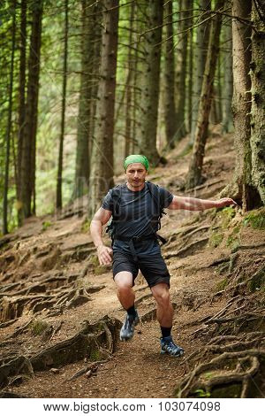 Man Doing Trail Running In The Forest