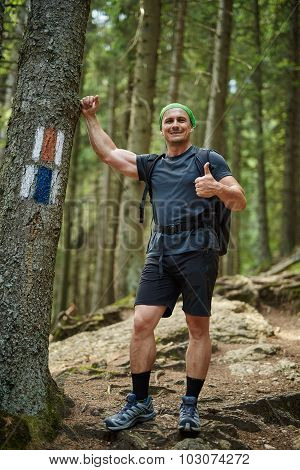 Hiker With Thumbs Up In The Woods