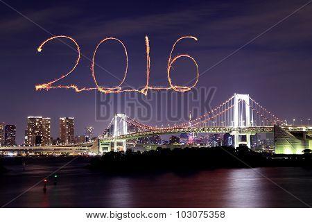 2016 New Year Fireworks Celebrating Over Tokyo Rainbow Bridge
