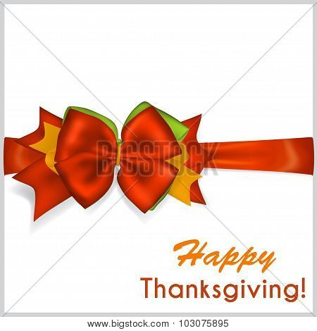 Thanksgiving Red Bow With Horizontal Ribbon