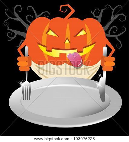 Pumpkin Holding Spoon And Knives On Dish For Halloween Party Menu