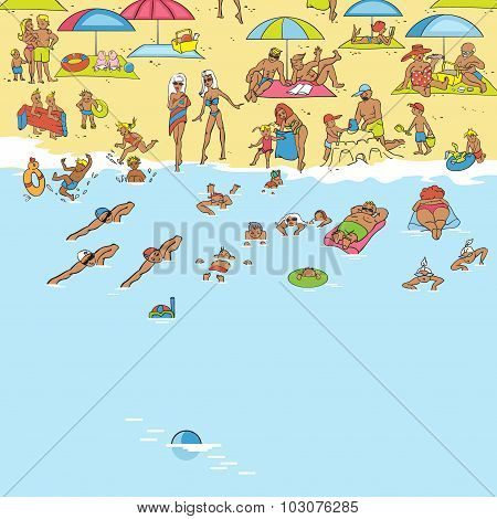 Summer Beach. People Relax, Sunbathe, Swim. Waves Lapping On The Sand. Vector Illustration