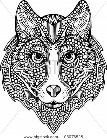 Hand drawn ornate wolf head illustration decorated with abstract zentangle ornaments. Decorative out