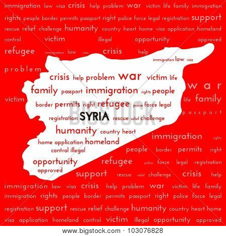 White Syria country map silhouette surrounded bloody red color with the words: war victim immigratio