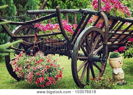 Wooden Cart With Summer Flowers