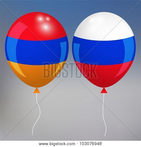 Armenia And Russia. Blurred Background . Armenian Style. Balloon. Vector Illustration