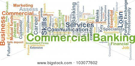 Background concept wordcloud illustration of commercial banking