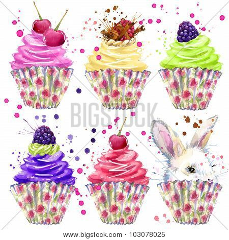 Rabbit, Cake cream and berries. T-shirt graphics, rabbit illustration and splash watercolor textured