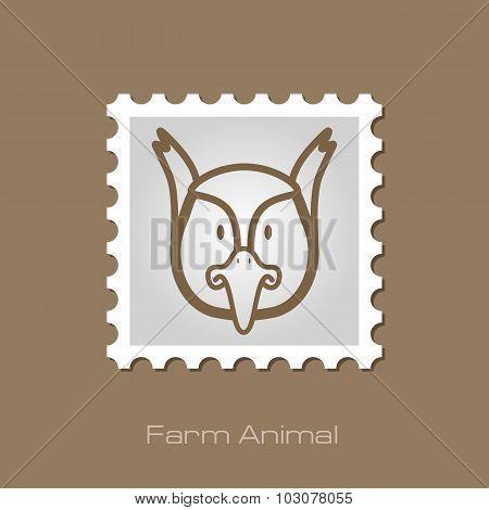 Pheasant stamp. Animal head vector illustration
