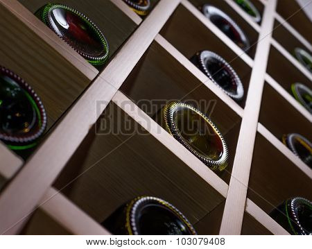 Wine bottles at the cellar.