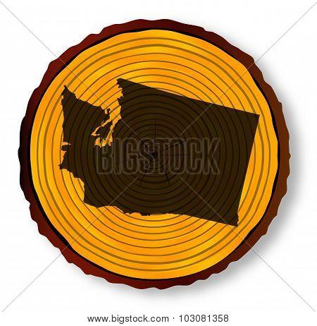 Washington Map On Timber