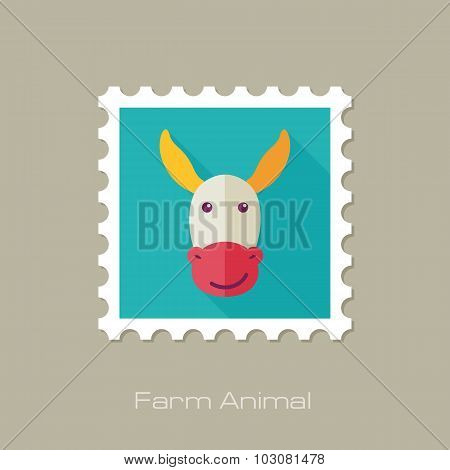 Donkey flat stamp. Animal head vector illustration