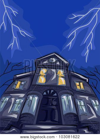 Illustration Featuring a Haunted House Framed by Lightning Bolts
