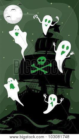 Illustration Featuring the Silhouette of a Ghost Ship
