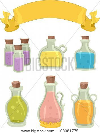 Illustration of Bottles Containing Different Potions