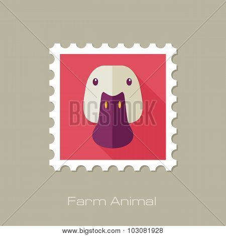 Duck flat stamp. Animal head vector illustration