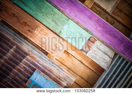 Rusty Metal And Colour Wood For Background