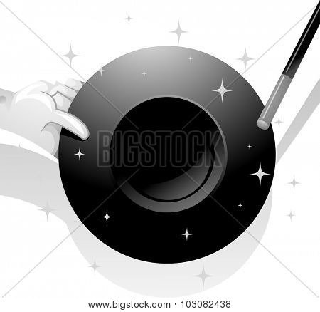 Black and White Illustration of a Magician Holding a Magic Hat
