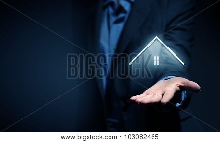 Close up of real estate agent offer house