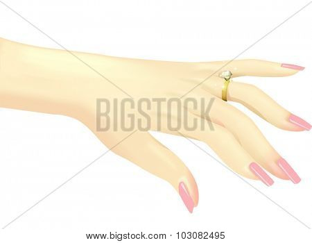 Illustration of a Woman Showing Off Her Diamond Ring - eps10