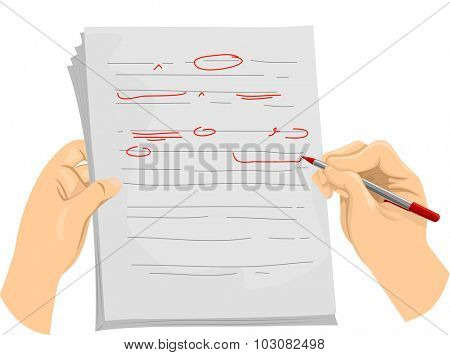 Illustration of a Copy Editor Writing Proofreading Symbols on a Document
