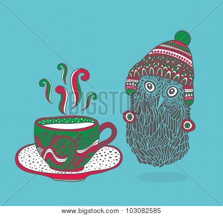 Little owl with a cup of hot tea.
