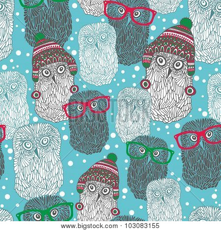 Seamless pattern with hipster polar owls.