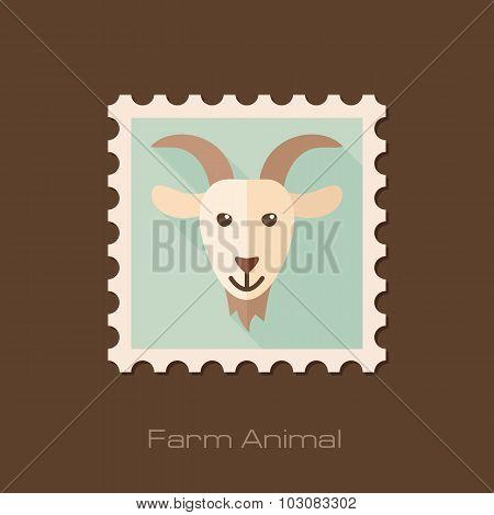 Goat flat stamp. Animal head vector illustration