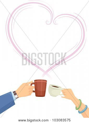 Illustration of Couple Clinking Their Coffee Cups