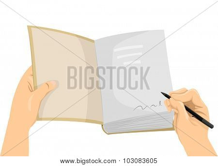 Cropped Illustration of a Hand Signing the First Page of a Book