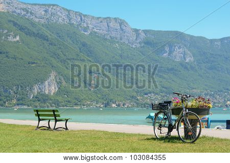 Bicycle parked in France beach